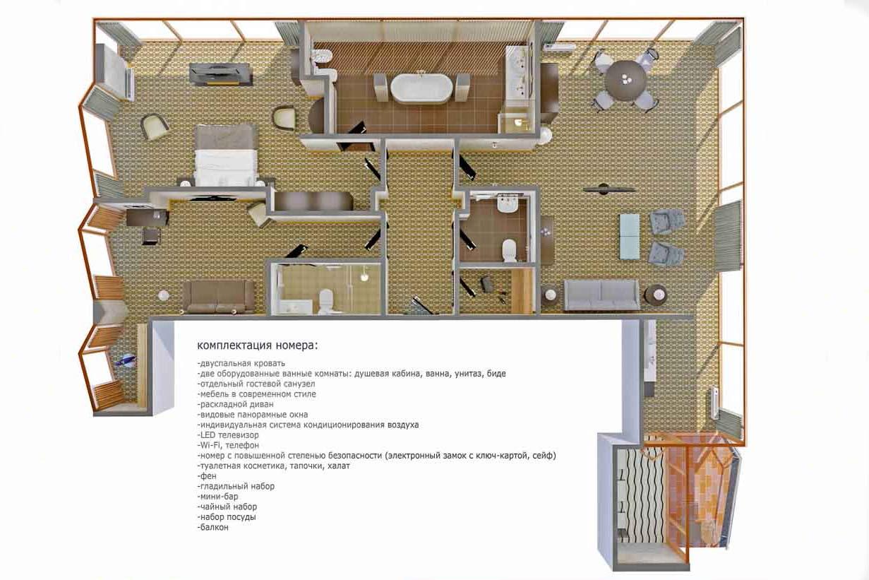 План-схема президентского апартамента в санатории Русь в Ессентуках - фотография