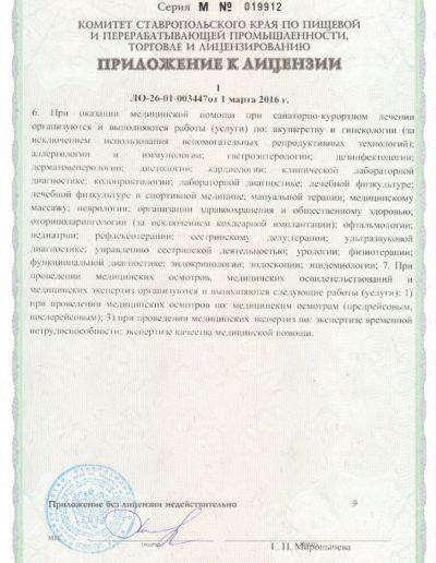 Медицинская лицензия медицинского центра Русь в Ессентуках - приложение 1 стр. 3