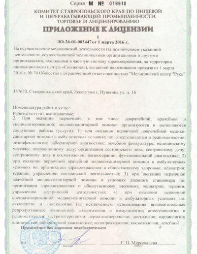 Медицинская лицензия медицинского центра Русь в Ессентуках