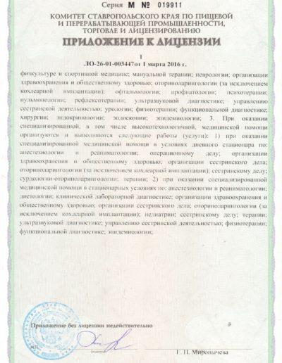 Медицинская лицензия медицинского центра Русь в Ессентуках - приложение 1 стр. 2