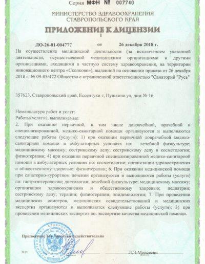 Медицинская лицензия санатория Русь в Ессентуках - приложение